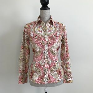 Ann Taylor Floral Abstract Button Down Blouse